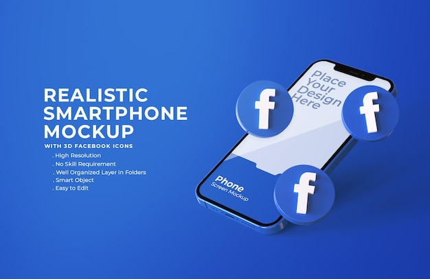 Icônes Facebook 3d Avec Maquette D'écran Mobile PSD Premium