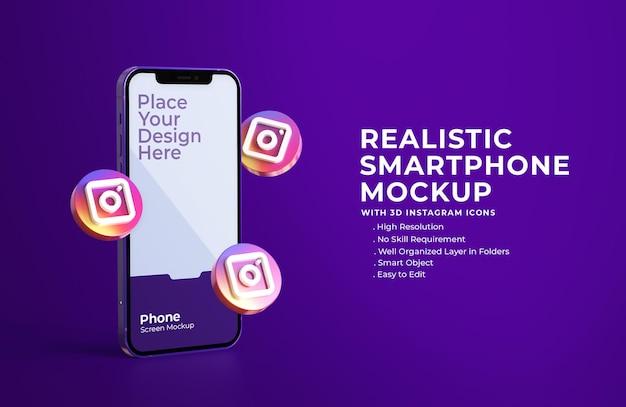Icônes Instagram 3d Avec Maquette D'écran Mobile PSD Premium
