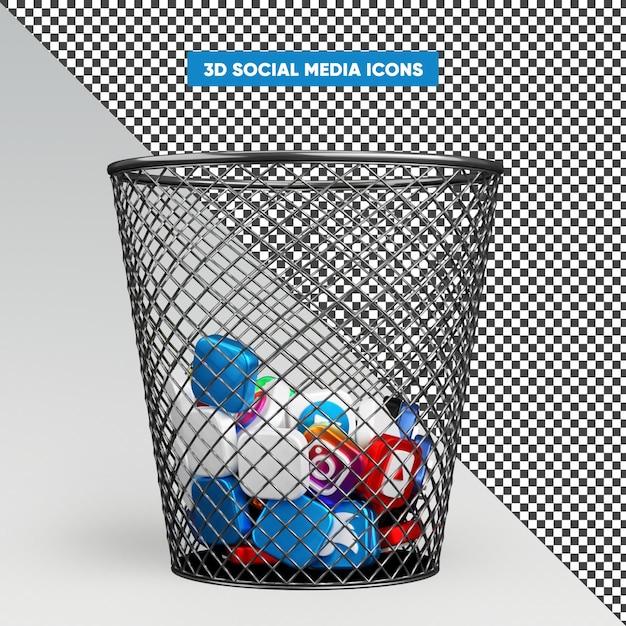 Icônes De Médias Sociaux 3d Réalistes Dans Le Rendu De La Corbeille PSD Premium