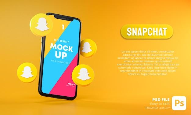 Icônes Snapchat Autour De La Maquette 3d De L'application Pour Smartphone PSD Premium
