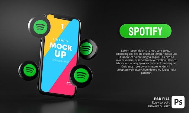 Icônes Spotify Autour De La Maquette 3d De L'application Pour Smartphone PSD Premium