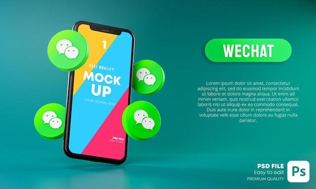 Icônes Wechat Autour De La Maquette 3d De L'application Pour Smartphone PSD Premium