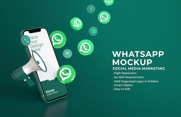 Icônes De Whatsapp 3d Avec Maquette D'écran Mobile Et Mégaphone PSD Premium