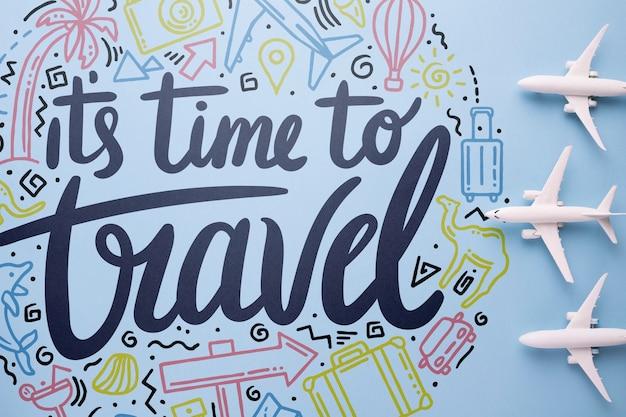 Il est temps de voyager, citation de lettre de motivation pour le concept de voyage de vacances Psd gratuit