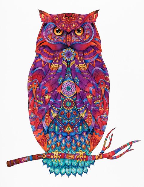 Illustration De Coloriage Animal Adulte Psd gratuit