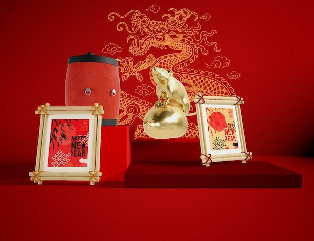 Illustration Du Nouvel An Chinois Du Rat Doré Psd gratuit