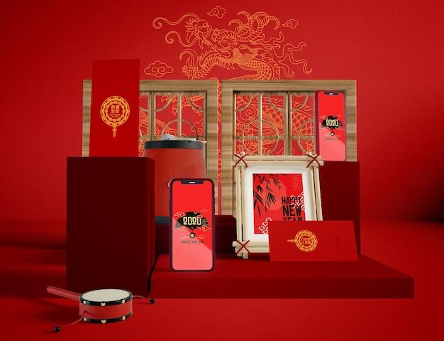 Illustration D'objets Traditionnels Du Nouvel An Chinois Psd gratuit