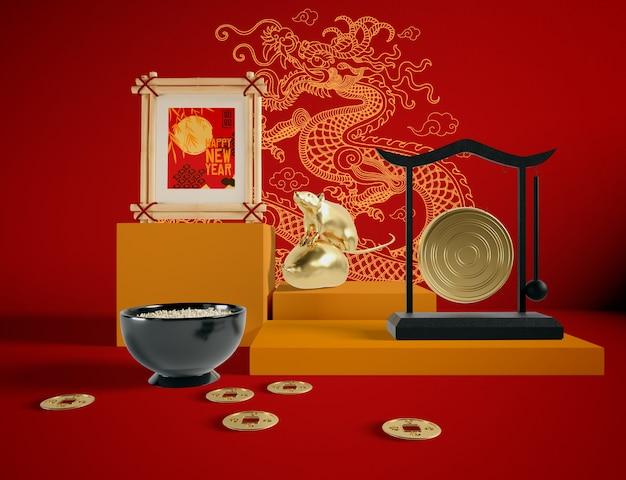 Illustration De Rat Doré Nouvel An Chinois Psd gratuit