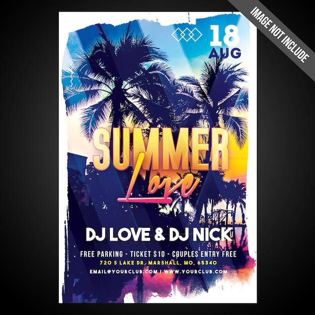 Imprimer prêt cmyk summer love flyer / poster avec des objets modifiables PSD Premium