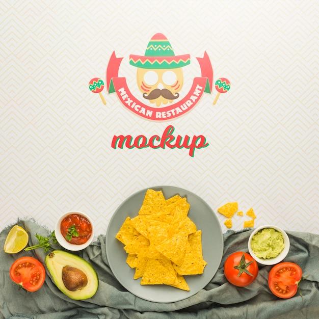 Ingrédients Encadrant La Maquette De Restaurant Mexicain Psd gratuit