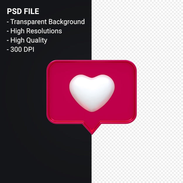 Instagram Comme L'icône 3d Ou Facebook Love Emoji Notifications Rendu 3d Isolé PSD Premium