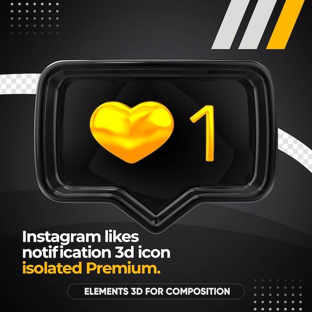 Instagram Noir Aime L'icône Avant De Notification Isolée PSD Premium