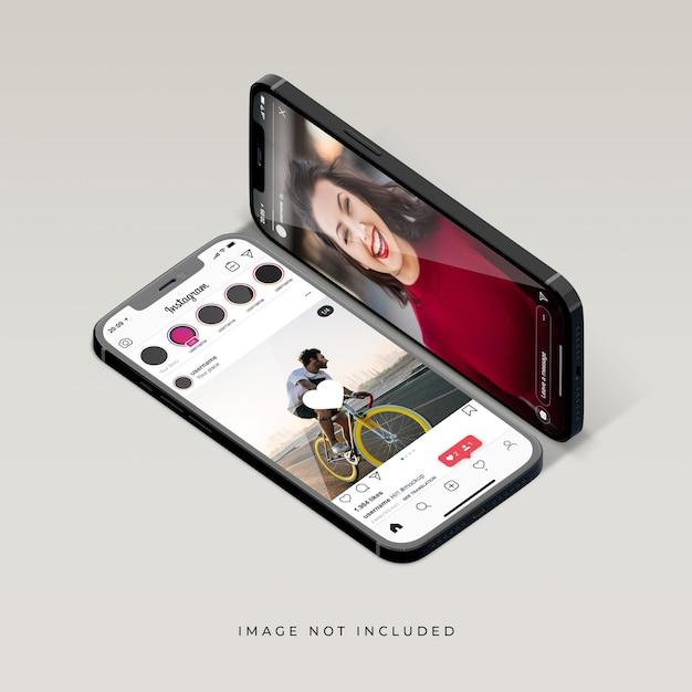 Interface Instagram De Conception De Maquette De Téléphone PSD Premium