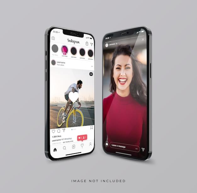 Interface Instagram Sur Une Nouvelle Maquette De Téléphone Flottante PSD Premium