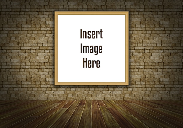 Intérieur 3d maquette avec cadre d'image vide sur le mur Psd gratuit