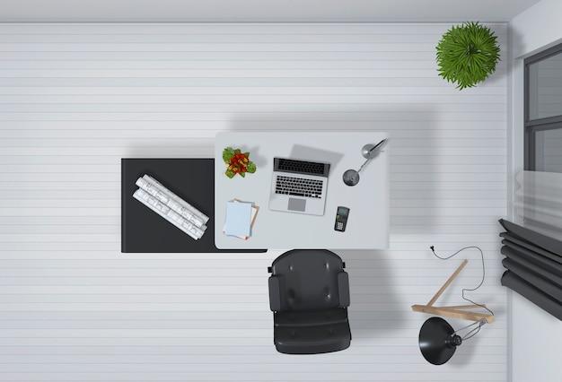 Intérieur Du Bureau Avec Ordinateur De Bureau En Rendu 3d PSD Premium