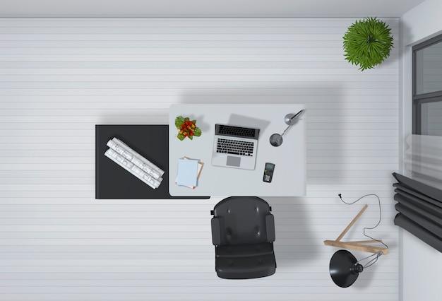 Intérieur Du Bureau Avec Vue De Dessus De L'ordinateur De Bureau Rendu 3d PSD Premium