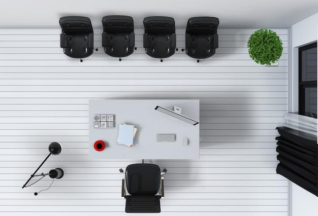Intérieur Du Bureau Avec Vue De Dessus D'ordinateur De Bureau Rendu 3d PSD Premium