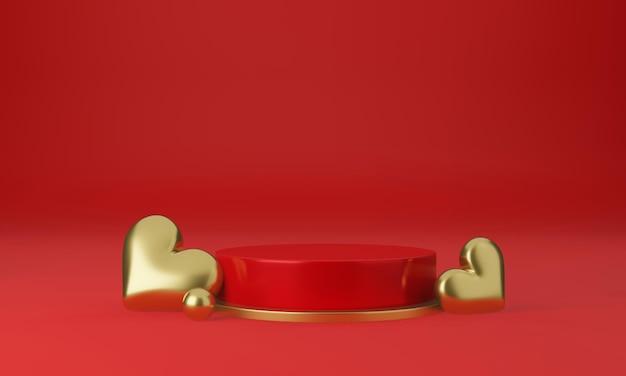 Intérieur De La Saint-valentin Avec Plate-forme Rose Pastel, Coeurs, Support, Podium, Piédestal Pour Les Marchandises PSD Premium