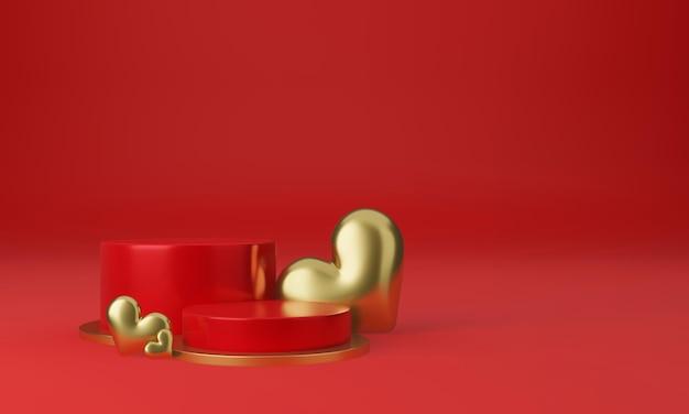 Intérieur De La Saint-valentin Avec Plate-forme Rouge, Coeurs, Support, Podium, Piédestal Pour Les Marchandises PSD Premium