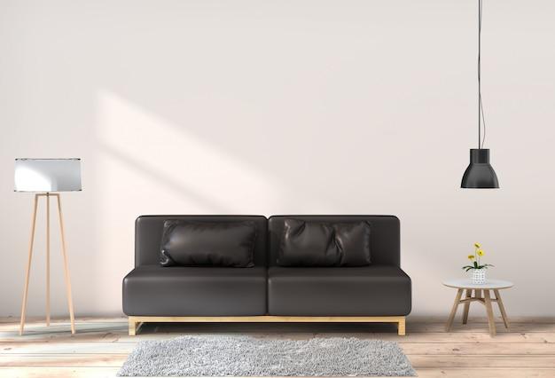 Intérieur de la salle de séjour dans un style moderne PSD Premium