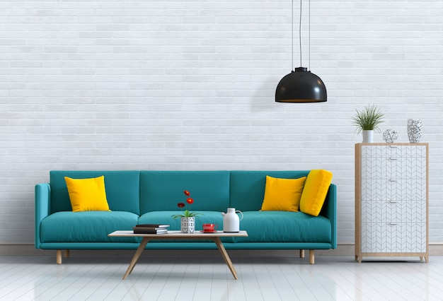 Intérieur De Salon De Style Moderne Avec Canapé Et Décorations. PSD Premium
