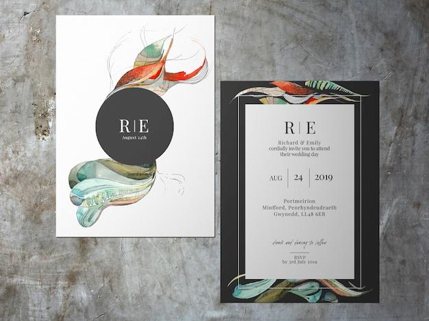 Invitation de mariage, carte de thème blanc abstrait noir à deux faces PSD Premium