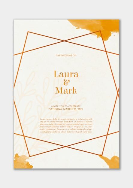 Invitation De Mariage élégant Avec Aquarelle D'or Psd gratuit