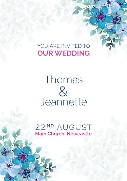 Invitation de mariage élégant avec des fleurs peintes en bleu Psd gratuit