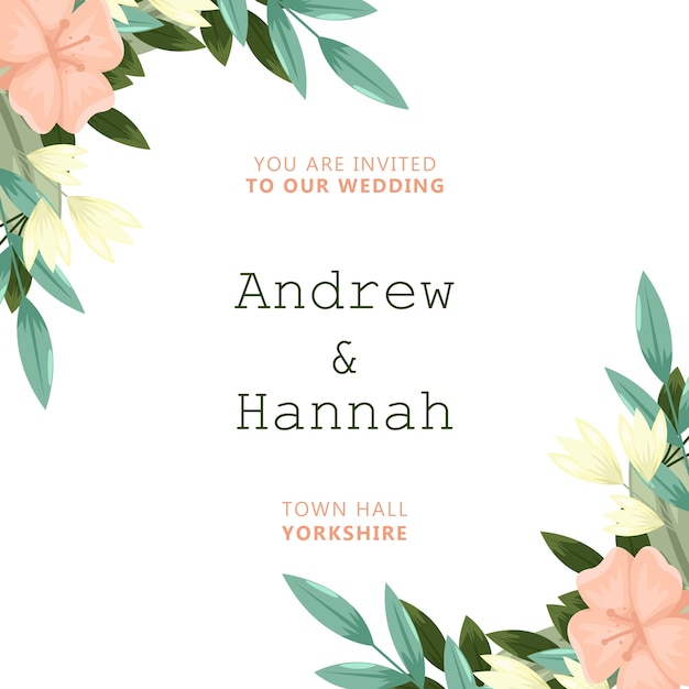 Invitation de mariage élégant avec des fleurs roses Psd gratuit