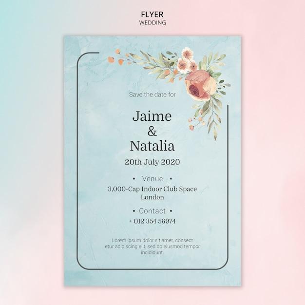 Invitation De Mariage Avec Des Fleurs à L'aquarelle Psd gratuit