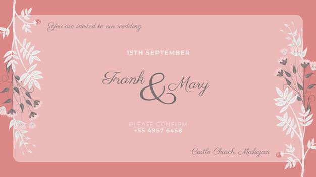 Invitation rose avec fleurs blanches peintes Psd gratuit