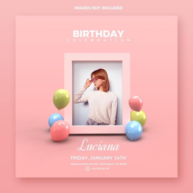 Invitations D'anniversaire Avec Maquette De Photos PSD Premium