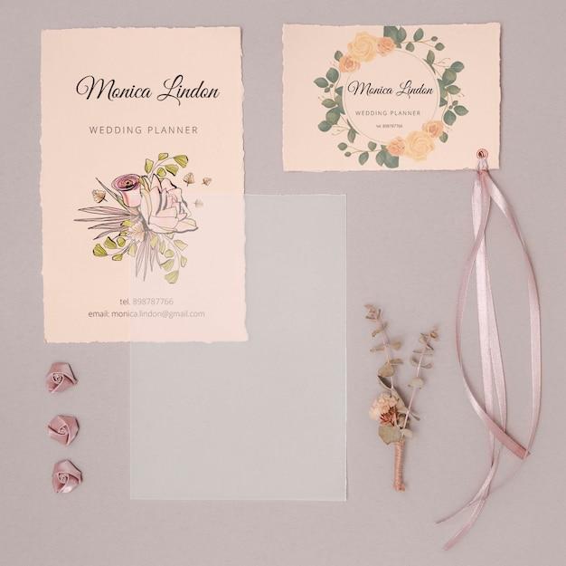 Invitations De Mariage Romantique Avec Ruban Psd gratuit