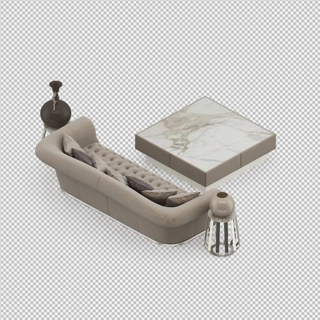 Isometric sofa 3d rendu isolé PSD Premium