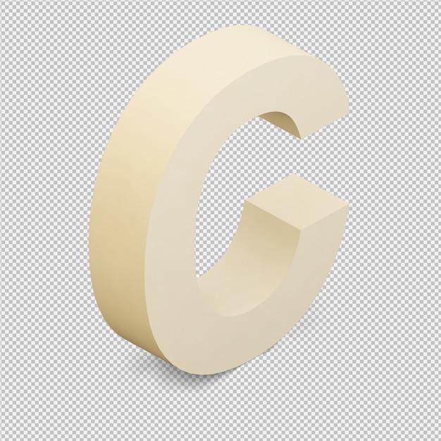 Isométrique alphabet 3d rendu isolé PSD Premium
