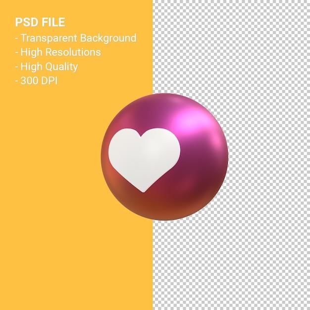 J'aime Ou Aime L'icône Pour Le Rendu De Symbole De Ballon 3d Instagram Isolé PSD Premium