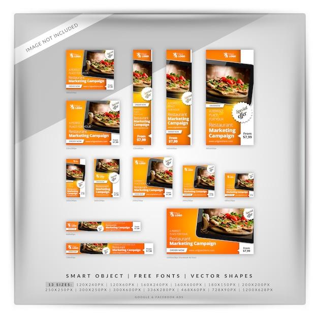 Jeu de bannières google pour aliments et restaurants PSD Premium