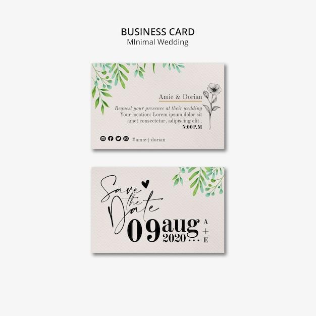 Jeu de cartes de visite de mariage minimal Psd gratuit