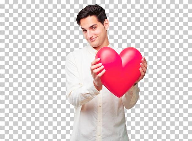 Jeune bel homme bronzé en forme de cœur. concept de l'amour PSD Premium