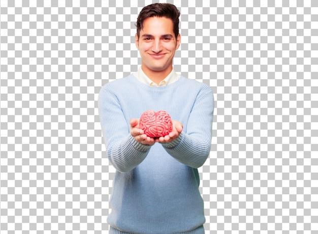 Jeune bel homme bronzé avec un modèle de cerveau PSD Premium