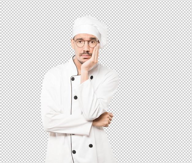 Jeune Chef Fatigué Faisant Un Geste D'ennui PSD Premium