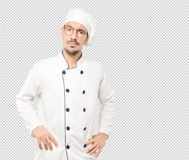 Jeune Chef Inquiet Faisant Un Geste De Doute PSD Premium