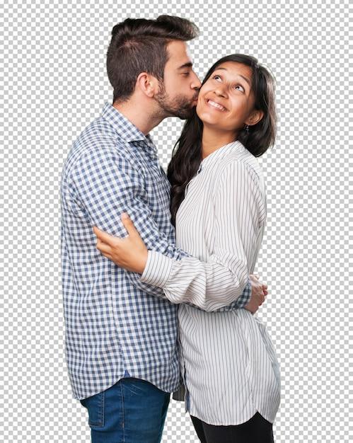 Jeune couple amoureux sur fond blanc PSD Premium