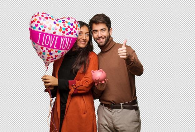 Jeune couple cool célébrant la saint valentin PSD Premium