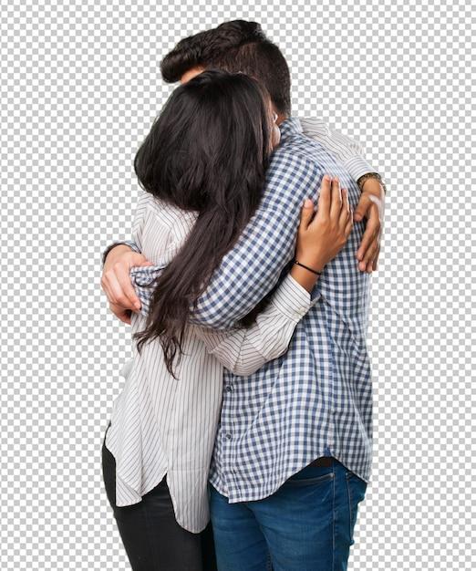 Jeune couple embrassant PSD Premium