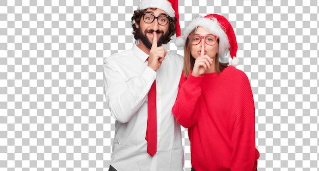 Jeune Couple Exprimant Le Concept De Noël. Couple Et Fond Dans Différentes Couches PSD Premium