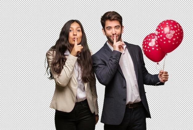 Jeune couple, saint valentin, garder secret, ou, demande, silence PSD Premium