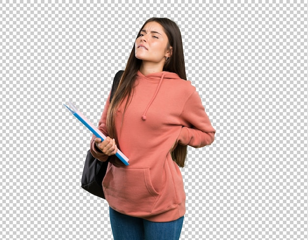 Jeune étudiante tenant des cahiers souffrant de maux de dos pour avoir fait un effort PSD Premium