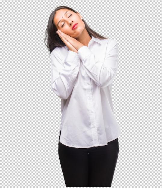 Jeune Femme Indienne Fatiguée Et Très Endormie PSD Premium
